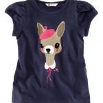 H&M เสื้อยืดสีกรม แขนตุ๊กตา ลายน้องหมาใส่หมวก น่าร๊าก ผ้านิ่ม ใส่สบายค่ะ size 4-6 y