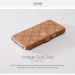 Zenus : Vintage Quilt Diary Genuine Leather Cover Case For Galaxy Note 4
