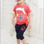 ชุดเด็ก ลายยิ้ม เสื้อสีแดงกางเกงสีกรมดำ สไตล์เกาหลี