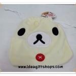ถุงผ้าหูรูด ลาย Korilakkuma หมีครีม (ซื้อ 12 ชิ้น ราคาส่งชิ้นละ 100 บาท)