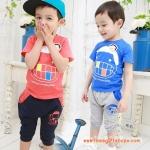 ชุดเด็ก ลายยิ้ม เสื้อสีฟ้ากางเกงสีเทา สไตล์เกาหลี