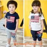 ชุดเด็กลายธง เสื้อสีขาวกางเกงสีกรม สไตล์เกาหลี
