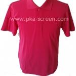 เสื้อโปโล สีชมพู ผ้าTC Mirco