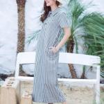 Linen Polo Maxi Dress สีเทาดำ