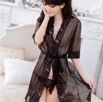 2in1 Sexy Blace Dress ชุดนอนเซ็กซี่เสื้อคลุมผ้าซีทรูสีดำแต่งลูกไม้ พร้อมจีสตริง