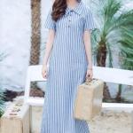 Linen Polo Maxi Dress ฟ้า