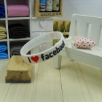 สายรัดข้อ Wristband ริสแบนด์ I Love Facebook สีขาว