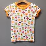 เสื้อยืดลายดอกไม้ โทนส้ม สดใส ใส่ลำลอง น่ารักสุดๆ size 3T