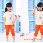 ชุดเด็ก ลายแมว เสื้อสีขาวกางเกงสีส้ม สไตล์เกาหลี