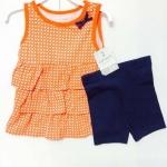 Carter's ชุดเซ็ท 2 ชิ้น เสื้อแขนกุด สีส้มลายกราฟฟิก+กางเกงขาสั้นสีกรม เนื้อนิ่ม ใส่ลำลอง สบายๆได้ทุกวันค่ะ size 2, 3, 4, 5T