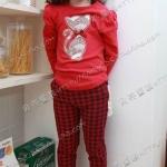 (Pre) ชุดเสื้อ-กางเกงลายลายสต๊อด สีแดง