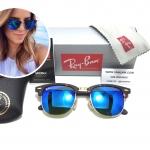แว่นกันแดด Rayban RB 3016 Clubmaster 1145/17 51-21 3N <ปรอทน้ำเงิน>