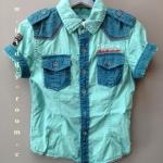 เสื้อเชิ้ตแขนสั้นสีฟ้า แต่งผ้าสีน้ำเงินตรงกระเป๋า บ่า และแขน แนวเกาหลี เข้ารูปนิดๆ จะพับแขนหรือปล่อยก็เท่ห์ที่ซู๊ด ^^ size 4-14 ( 4-12 ปี)
