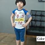 เสื้อเด็กแขนสั้น ลาย Super man สีขาวแขนฟ้า มีขนาด 90-130