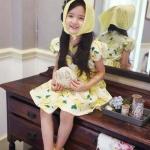 Amber Bear (made in Korea) ชุดกระโปรงผ้าคอตตอน ลายแอปเปิ้ล สีเหลือง หวาน สะดุดตา น่ารักจริงๆ น๊า คอนเฟิร์มจ้า size 5-13