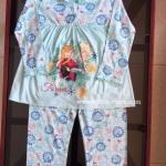 (หมดชั่วคราว) Disney - Frozen (งานลิขสิทธิ์) ชุดนอนเจ้าหญิงโฟร์เซ่น สีฟ้า แขนขา ยาว ผ้า cotton นิ่ม ใส่สบายค่ะ size 4-10