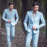 สูทชาย,ชุดสูท สีฟ้า +เสื้อกั๊ก พร้อมส่ง M,L,2XL