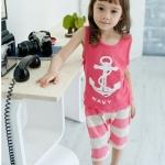 ชุดเด็ก ลายสมอ แขนกุด เสื้อสีชมพูกางเกงลายทาง สไตล์เกาหลี