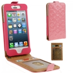 Case เคส Luxury Series Flower Pattern Vertical Style Genuine Leather Case iPhone 5 (Pink)