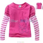 เสื้อสีชมพูบานเย็น แขนยาวริ้วขาว ลายคิตตี้ แบบน่ารักมากค่ะ size 110-150
