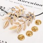 Gold Olive Leaf Collar Brooch เข็มกลัดใบมะกอกสีทอง 1 คู่ แต่งปกเสื้อ นำโชคมีชัย