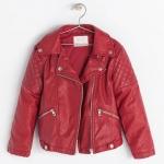 ZARA : FAUX LEATHER JACKET - Red (งานแท้) เสื้อแจ็คเก็ตหนังสีเลือดนก แต่งกระดุม+รูดซิปหน้า ใส่คลุมหนาวนี้ เท่ห์มากค่ะ