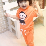 ชุดเด็ก ลายลิง ชุดสีส้ม สไตล์เกาหลี