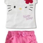 ชุดเด็กผู้หญิง เสื้อลายคิตตี้สีขาวกับกางเกงสีชมพู ขนาด 100-140