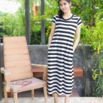 Maxi Pockets Stripe ขาวดำ