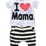 ชุดเซ็ท 2 ชิ้น เสื้อขาวผ้า cotton เนื้อนิ้มนิ่ม สกรีน I Love Mama+ กางเกงริ้วขาว ดำ ใส่ชิวๆ น่ารักดีค่ะ size 90, 95, 100, 110, 120, 130