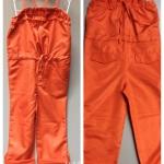 ชุดเอี๊ยมสีส้ม สดใส แต่งย่นๆ ช่วงอก มีเชือกผูกเอว กระเป๋า 2 ข้าง น่ารักมากๆ ค่ะ size 100