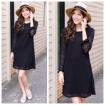 Sweet & Soft Knitted Dress สีดำ