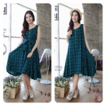 Tartan Jpn cotton dress สีเขียว