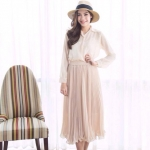 Sweetest Pleated Skirt สีครีม