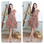 Scotty-Polka dots Cute Dress น้ำตาล