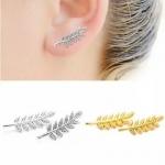 ต่างหูรูปใบมะกอกนำโชค สีเงิน สีทอง Silver Gold Olive Leaf Earings