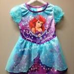 The Little Mermaid ---- ชุดกระโปรงผ้ามัน เจ้าหญิงแอเรียล Ariel สีฟ้าเทอร์ควอยซ์ น่ารักสุดๆ size 12m.