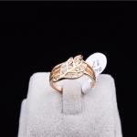 Gold Leaf Crystal Ring แหวนแถวแฟชั่นโลหะชุบทองคำรูปใบไม้แต่งคริสตัล