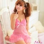 2in1 Sweet Sexy Babydoll ชุดนอนเซ็กซี่ซีทรูสีชมพูแต่งลูกไม้ที่อก ระบายชาย พร้อมจีสตริง สวยหวานน่ารัก