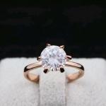 แหวนเพชรCZประกายวิ๊งๆ ตัวเรือนเคลือบทองชมพู 18k หัวแหวน Cubic Zirkon ขนาดแหวนเบอร์ 7