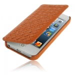 Case เคส Luxury Leather Series Weave Texture Horizontal Flip Sheepskin Case for iPhone 5 (Orange)