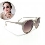 แว่นกันแดดแฟชั่น Matte Gray Round Sunglasses <ครีม>