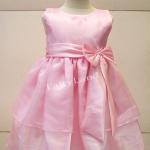 ชุดกระโปรงเด็กหญิงออกงานโบว์ใหญ่สีชมพูสำหรับเด็ก6-7ปี