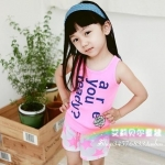 ชุดเด็กผู้หญิง เสื้อกร้ามสีชมพูกับกางเกงลายดาว น่ารักสไตล์เกาหลี