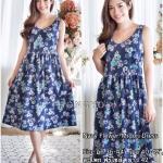 Navy Flower-Midori Dress