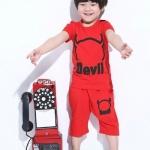 ชุดเด็ก เสื้อสีแดงกางเกงสีแดง มีขนาด 100-140