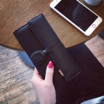 Classic Day Clutch Black Wallet กระเป๋าสตางค์ทรงยาวสีดำแบบเรียบหรู รับทรัพย์คนเกิดวันจันทร์ กระเป๋ายาวใส่มือถือได้