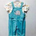Mon Caramel ชุดเอี้ยมเด็กสีฟ้า ลายช้าง มีกระดุมแป๊กด้านข้าง ปรับความยาวได้ พร้อมเสื้อตัวสั้น แยกกันได้ค่ะ size 18m.-24m.