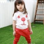 ชุดเด็ก เสื้อสีขาวส้มมีฮูด กางเกงสีส้ม น่ารักสไตล์เกาหลี