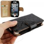 Case เคส Luxury Series Flower Pattern Genuine Leather Case for iPhone 5 (Black)